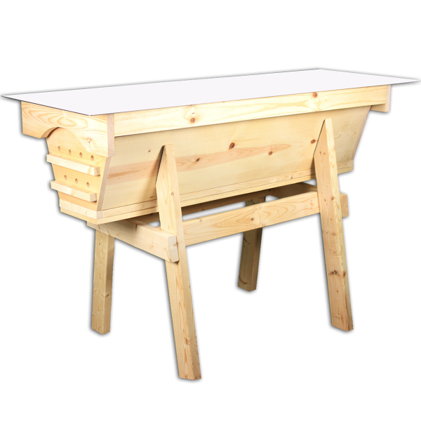 Pine top bar hive for sale with white roof