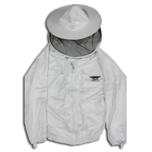 Beekeeping jacket from Wild Bunch Bees with 6 pockets, thumb loops, and elastic waist and wrist cuffs