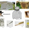 Top Bar Beekeeping Starter Kit comes with top bar hive with window, jacket, ventilated gloves, brush, hive tool, and more